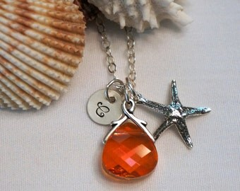 Personalized Starfish Bridesmaid Necklace - Destination Wedding Jewelry - Swarovski Crystal Necklace - Beach Wedding Bridesmaid Jewelry