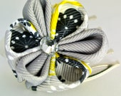 Black, yellow, and grey grosgrain ribbon kanzashi flower mini hair comb