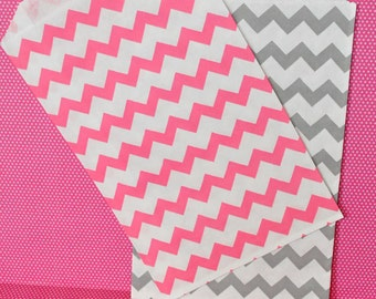 24 Pink and Gray Chevron Favor Bags - Paper Party Bags