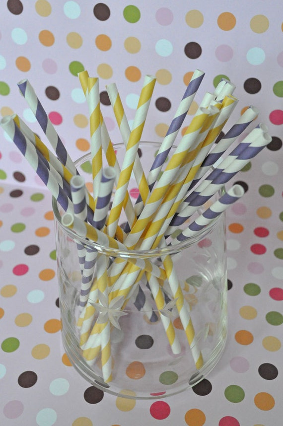 Paper Straws - Purple and Yellow Striped Party Straws and Coordinating DIY Straw Flag PDF