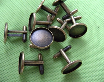 Vintage Antique Bronze 16mm cuff links Blank cufflinks, fit for resin Glass Cabochon, resin jewelry supply wholesale - 20 pcs