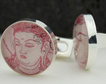 Buddhist  Cuff Links - Vintage Japanese Postage Stamps Cufflinks - Handmade Cufflinks - Kannon Bodhisattva