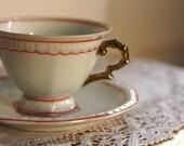 SALE 1905-1932 Vintage German Tea Cup Set / Orange, White, Gold Tea Cup / Alice in Wonderland Tea Cup