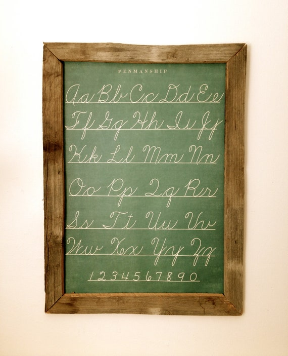 Recycled Barn Wood Picture Frame with Alphabet Print