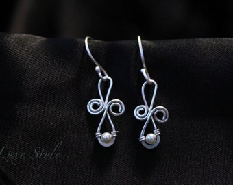 Infinity Silver Ear Rings Wire wrapped Pearl dangle Ear Rings White Metal work Contemporary Handmade Jewelry Luxe Style