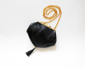 Black leather handbag  small leather black purse  Heart shape evening bag  Small leather  bag Dalfia  unique leather bag