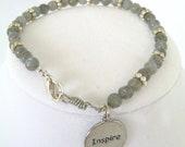 Labradorite Stone Silver Bead Charm Bracelet , Gray Bracelet , Word Jewelry - 2012BellaVida