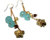 SKY TWINKLE DANGLES / wire-wrapped earrings ft. crystals, gold nuggets, swarovski crystals, glass stars,14k gold chains, wire & earhooks
