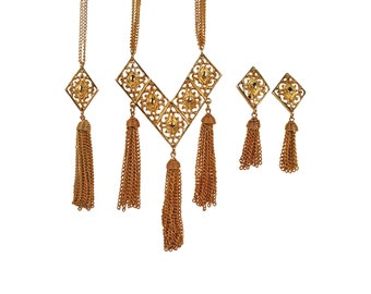 Vintage Sarah Coventry Gold Tassel Necklaces & Earrings Set