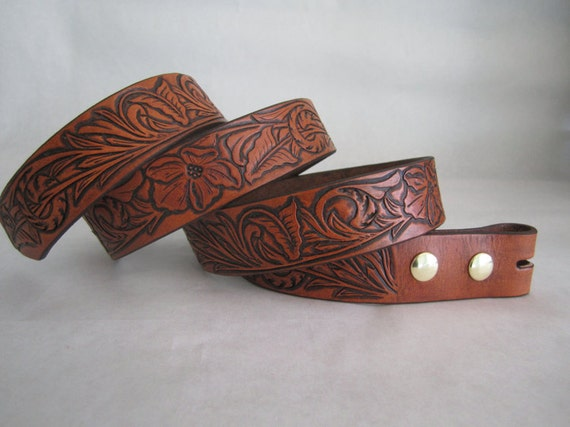 tooled leather belt with floral by