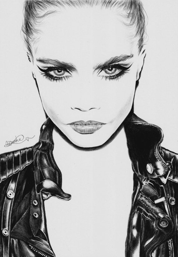 Line Drawings From D Models : Items similar to art print of cara delevingne pencil
