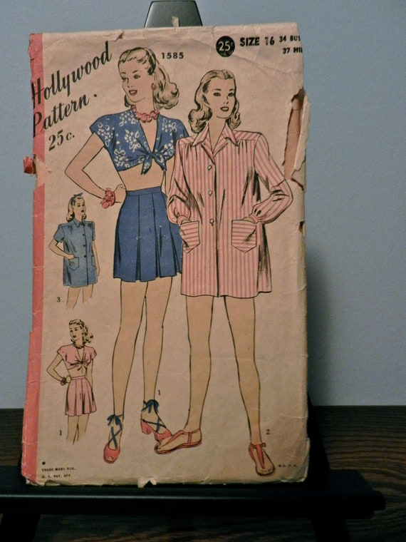 Vintage 1940s Hollywood Pattern 1585, Play Suit and Coat, Size 16