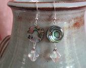 "Special Offer: 925 Paua  Shell & ""Celestial Crystals"" Designer earrings Sterling Silver diamond cut  Aurora Borealis crystal ocean hues"