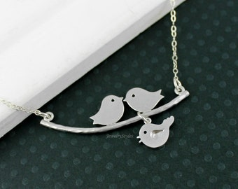 Love Birds Necklace - Family Tree Necklace, Silver Bird Necklace, Baby Bird Family Necklace, Bird Jewelry, New Mother Necklace