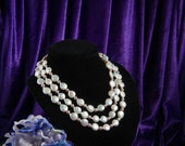 Blest Jewellery-Pearl Necklace -  8-10MM 17-18 Inches  3 strands White Color Freshwater Coin Pearl And Pink Freshwater Pearl Necklace