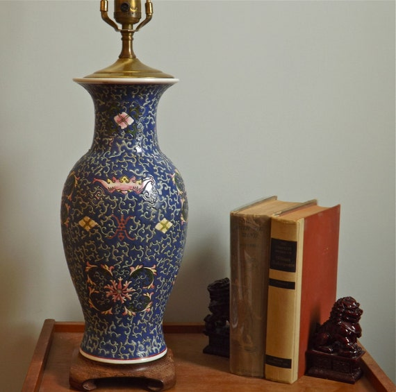Oriental Cloisonne Lamp with Custom Shade