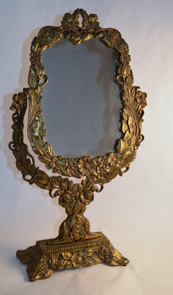 Vintage Ornate Antique Gold Vanity Mirror