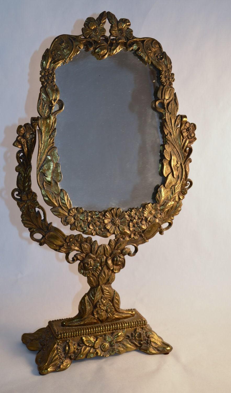 Vintage Ornate Antique-Gold Vanity Mirror
