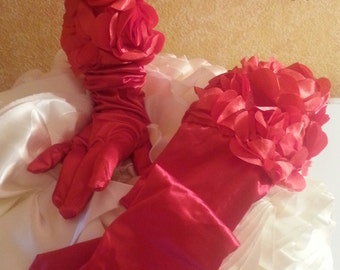 Red Scarlet Rose Opera Bridal Gloves Wedding Evening Party Club Theater Costume Gatsby Vintage Victorian
