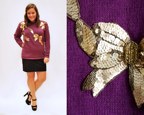 Vintage Sequined Sweater - L - Purple with Sequined & Beaded Bows
