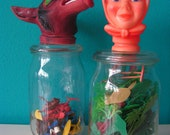 SALE Set of 2 glass jars, pots to store little things as toys, pasta, biscuits - Little Red Riding Hood -