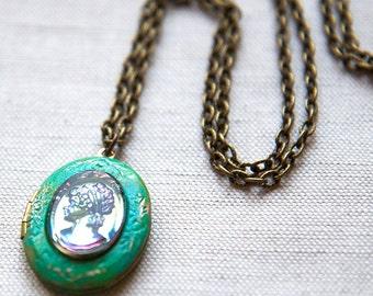 Green Lady Profile Petite Cameo Locket Necklace Brass Verdigris Vintage Intaglio