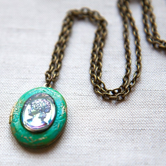 Green Lady Profile Petite Cameo Locket Necklace Brass Verdigris Vintage Intaglio