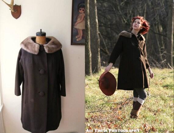 Fur collar coat - wool- fur collar- size medium