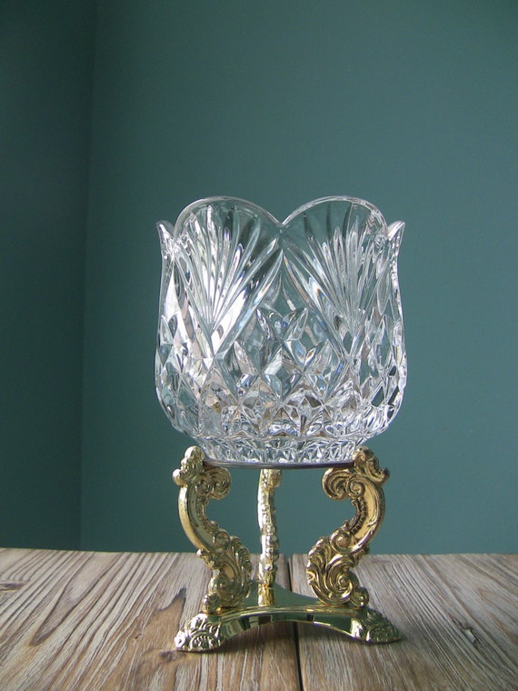Vintage Godinger Crystal Candle Holder With Footed Gold Tone