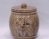 Vintage 50s Ceramic Cookie Wood Barrel or Jar - Rooster Canister