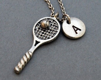 Tennis necklace, Tennis Racket necklace, tennis racquet, tennis player jewelry, sports charm, initial necklace, personalized, monogram