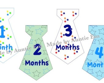 Stars Monthly Onesie Tie Stickers