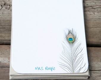 Note Cards Set - Peacock Feather -Stationery Set, Personalized Gift