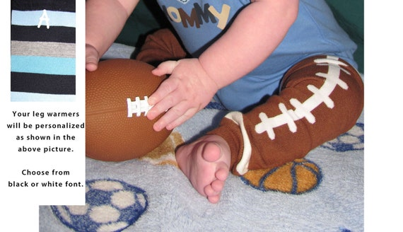 FOOTBALL baby leg warmers.  Great for babies, toddlers, and young kids