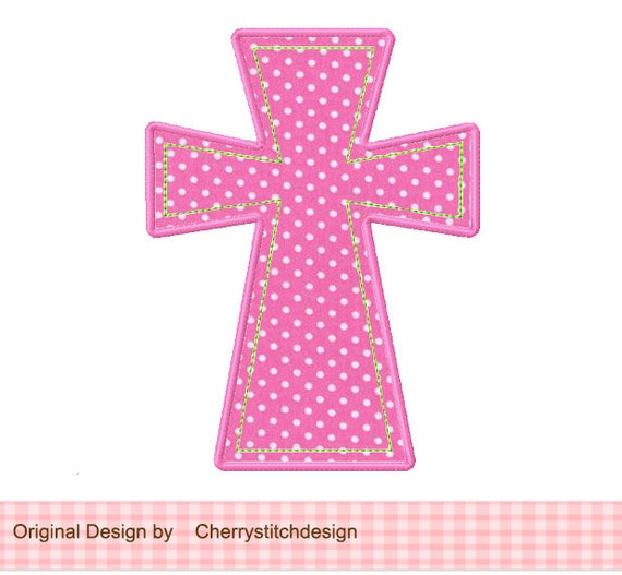 Cross applique machine embroidery