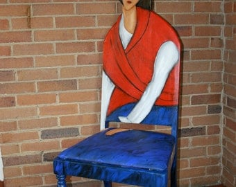 Modigliani Jeanne Hebuterne in a Red Shawl up cycled chair painted by Artist Todd Fendos