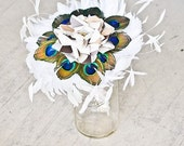 Feather Wedding Bouquet - Peacock Wedding , Feathered Bouquet, Fabric Flower, Bird Lovers, Bridal Parties, White Feathers