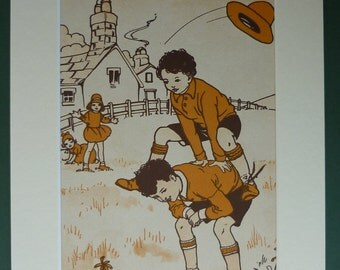 Original 1930s Children's Matted Print - Orange - Brown - Leapfrog - Playful - Leap Frog - Play - Playing - Game - Mounted - Vintage Pictur