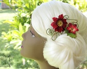SALE! Poinsettia Hair Clip - Eco-friendly hair accessory Yule / Christmas / Holiday party accessory