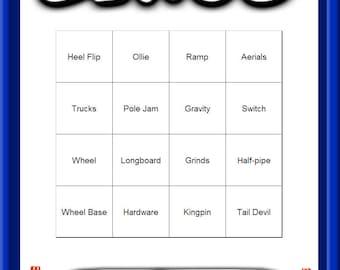 Skateboard Themed Bingo Set