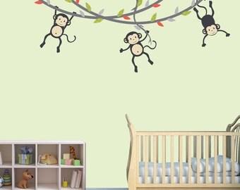 Hanging Monkey Wall Decal, Monkey Vines, Monkey Decal, Nursery Wall Decals, Boy Monkeys, Kids Room Wall Decals, Monkey Stickers