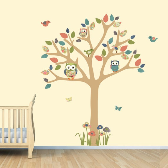 Nursery Wall Decal, Owl Tree Decal, Owl Art, Owl tree wall sticker,