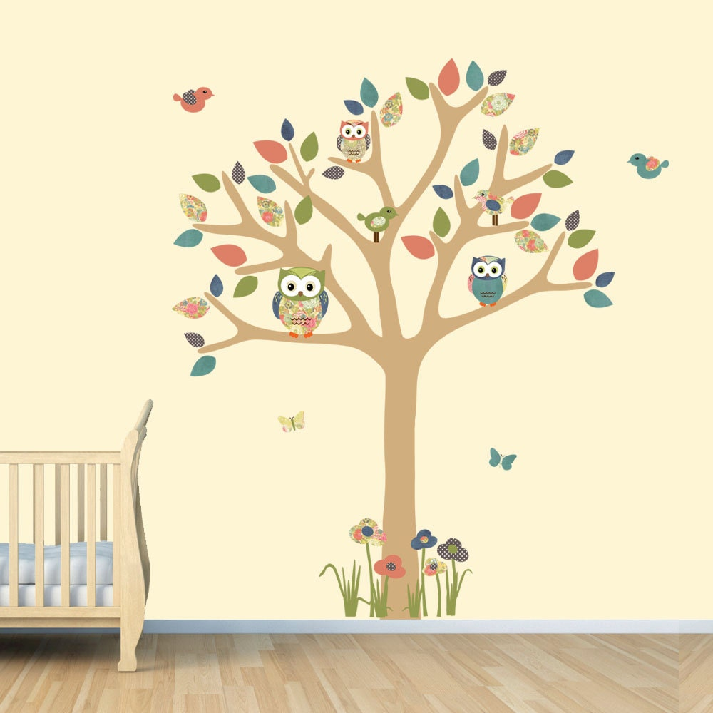 nursery wall decal owl tree decal owl art owl tree wall