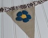 Wool Felt Flower Bunting, Flower Butterfly Decor Fabric Banner - Handsewn Wool Felt Fabric Bunting, Teacher Gift, Mothers Day Gift