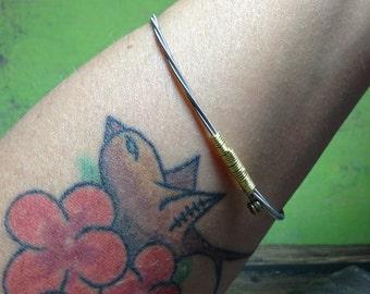Silver and Gold Guitar String Bracelet, Bangle Bracelet, Stacking Bracelet