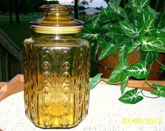 1970's Vintage Amber Harvest Flower Canister
