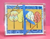 Note Card Set - A2 - Paper-Pieced Trees in Primary Colors