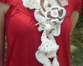 Crochet scarf, crochet scarflette, crochet lariat, cream scarf, crochet flower