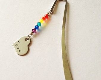 Rainbow personalized Metal Bookmark with Swarovski crystals, hand stamped metal, great silver alternative