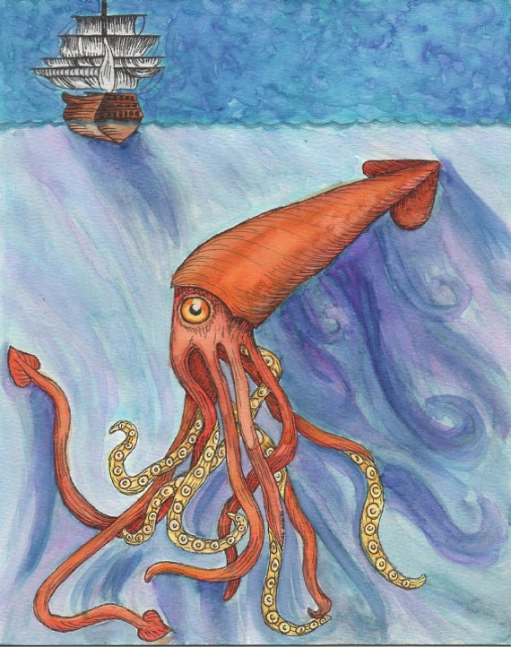 Giant Squid in the Sea with Ship 8 x 10 Print Watercolor